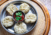 Vegetarian Tibetan momo — Stock Photo