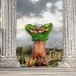 Yoga head stand lotus pose — Stock Photo #7085572