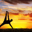 Yoga silhouette Vasisthasana plank pose — Stock Photo