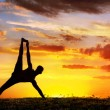 Yoga silhouette Vasisthasana plank pose — Stock Photo #7085703