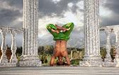 Yoga hoofd staan lotus pose — Stockfoto