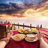 Exotic veg restaurant with ocean view — Stock Photo
