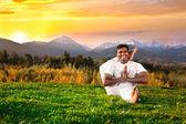 Yoga in mountains — Stock Photo
