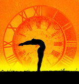 Concept of yoga and time — Stock Photo