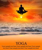 Flying Yoga silhouette — Stock Photo