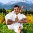 Постер, плакат: Yoga Advance pose in mountains