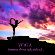 Yoga silhouette dancer pose - Stock Photo