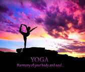 Yoga silhouette dancer pose — Stock Photo