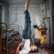Business yoga in Russian village — Stock Photo #7509085