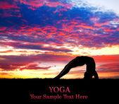 Yoga silhouette at sunset — Stock Photo