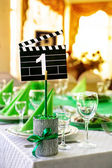 Wedding table in Movie style — Stock Photo