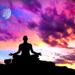 Yoga meditation silhouette pose - Stock Photo