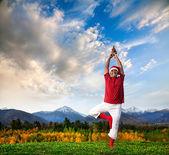 Jóga vánoční strom pozice — Stock fotografie