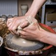 Potter on the potters wheel — Stock Photo