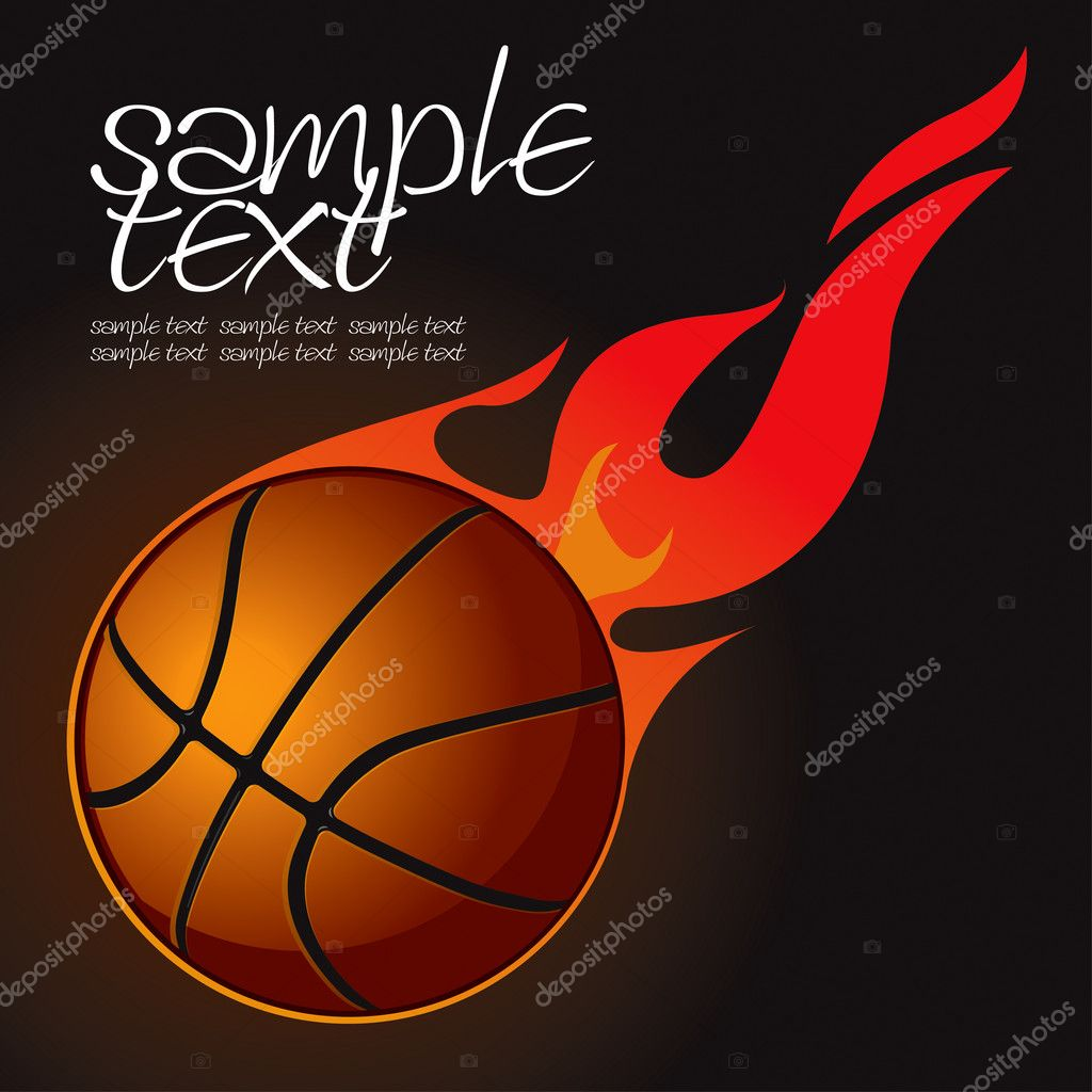 Basketball Fire Ball 2 Vector Drawing — Stock Vector #6907976