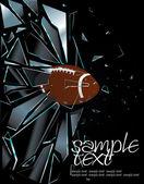 Broken Glass American Football Ball — Stock Vector