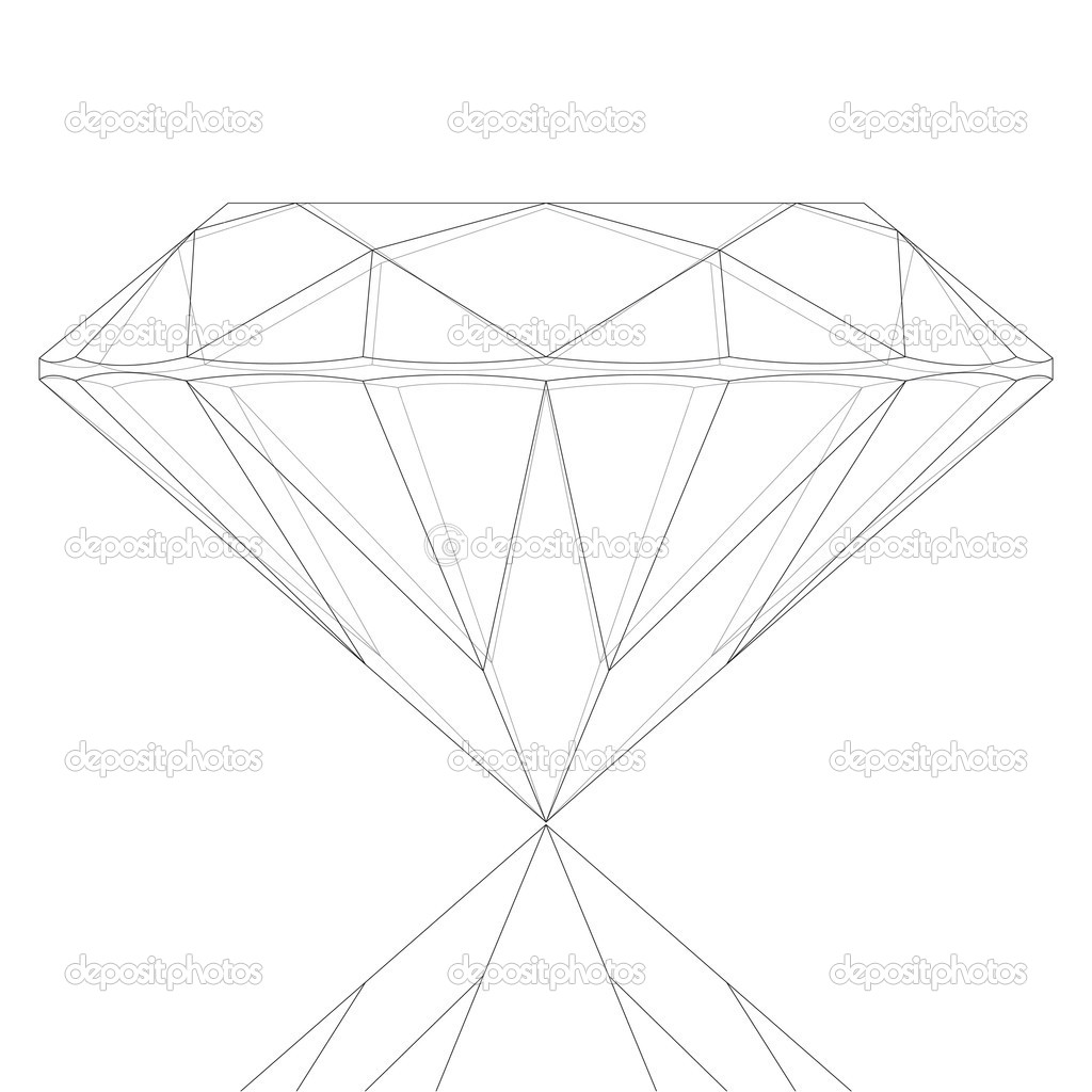 Diamond Keyline Drawing — Stock Vector #7382273