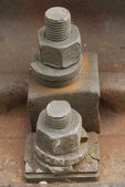 The old railway track nuts — Stock Photo