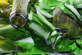 Shattered green wine bottle — Stock Photo