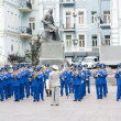 Kiev.Ukraine. 09.09.11 Military brass band played at the  ceremony. - Stock Photo