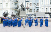 Kiev.Ukraine. 09.09.11 Military brass band played at the ceremony. — Stock Photo