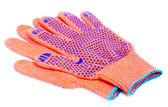 Turuncu rengi beyaz zemin üzerine izole eldivenler çalışması — Stok fotoğraf