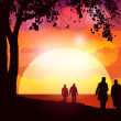 Royalty-Free Stock Vector Image: Sunset  Walk