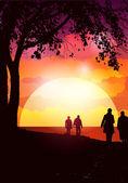 日落步行 — 图库矢量图片