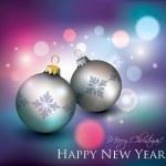 Abstract Bokeh Lights and Christmas Balls — Stock Vector