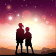 Kids Looking At The Starry Sky — Stock Vector