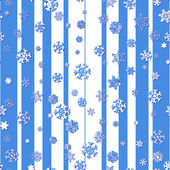 Seamless pattern with snowflakes on striped background — Stock Vector