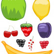 Mouth-watering fruit icons — Stock Vector
