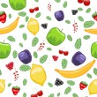 Mouth-watering fruit seamless pattern — Stock Vector