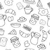 Black and white breakfast theme — Stock Vector