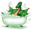 Green dragon relax in bath — Stock Vector #7729379