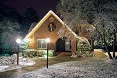 Christmas decorated cottage — Stock Photo
