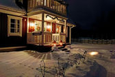Christmas decorated porch — Stock Photo