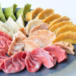 Raw colorful vegetable dumplings — Stock Photo
