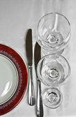 在 restourant 中晚餐餐具 — 图库照片