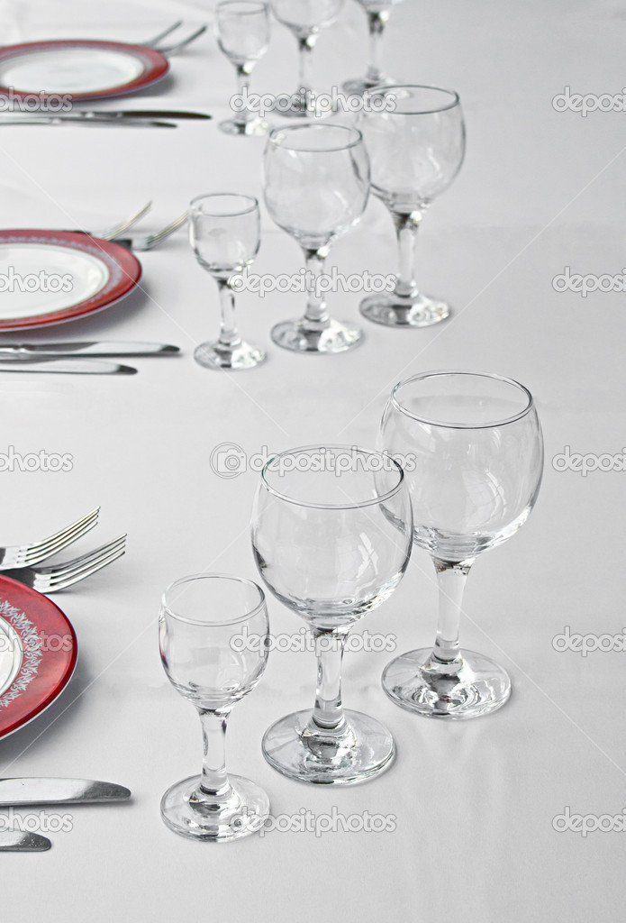 Tableware for dinner in restaurant  Stock Photo #6931961