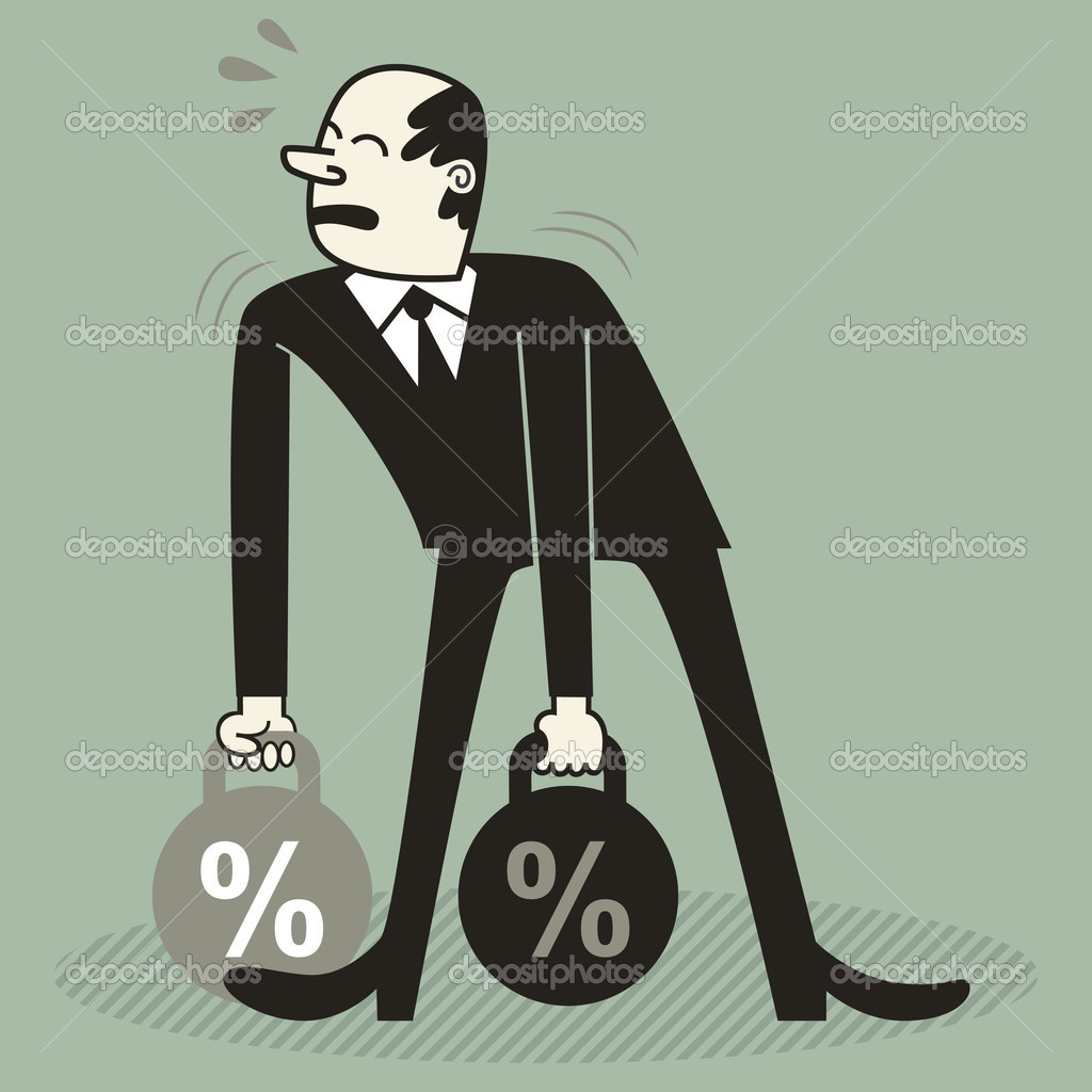 A man trying to lift heavy weights with a percent sign. — Stock Vector #7124321