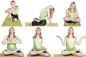 Young woman doing series of yoga exercise — Stock Photo