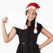 Santa girl with a blank — Stock Photo #7289791