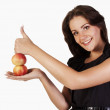Young woman with apples showing hand ok sign — Stock Photo