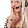 Womoperator with headset saying shh — Stock Photo #7323904