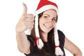 Santa girl showing hand ok sign — Stock Photo
