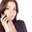 Pretty brunette businesswoman talking by mobile — Stock Photo #7412913