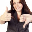 Young businesswoman showing hand ok sign — Stock Photo