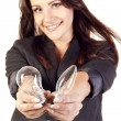 Businesswoman with two bulbs — Stock Photo