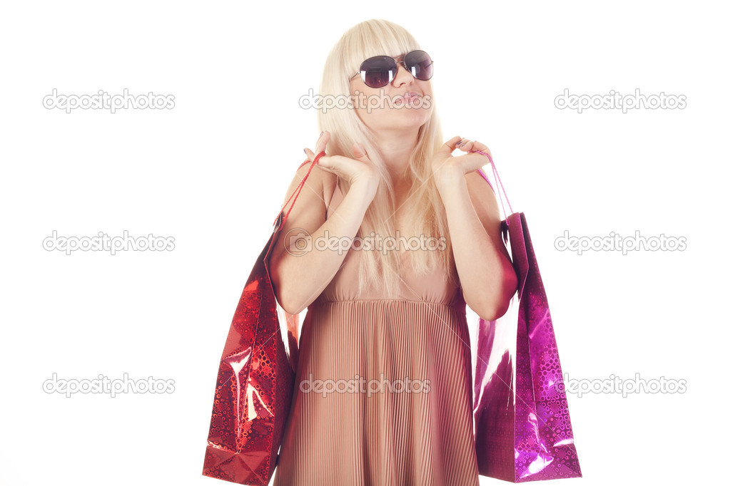 Portrait of a beautiful adult girl making shopping — Stock Photo #7561643